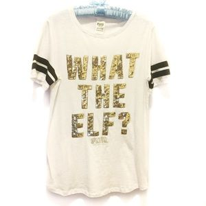VS Pink What the Elf Gold Sequined Tee Medium